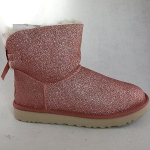 UGG Womens Mini Bailey Bow PINK Sparkle Boots Sz 8